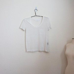 Alexander Wang Tricot white sheer scoopneck t-shir